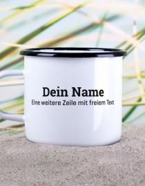 Personalisierter Emaille-Becher mit eigenem Namen / Text