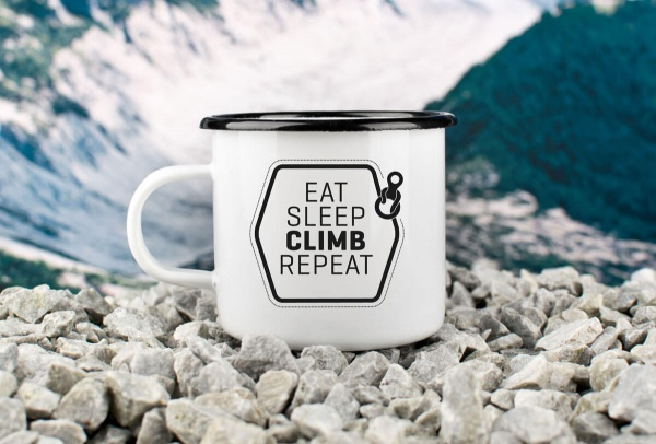 Emaille-Becher »Eat, Sleep, Climb, Repeat«