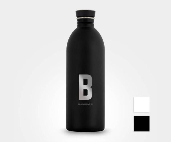Personalisierte Edelstahl-Trinkflasche mit Design-Buchstabe und Namen