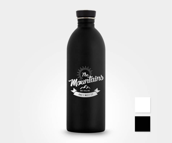 Edelstahl-Trinkflasche »The Mountains Are Calling And I Must Go« – personalisierbar