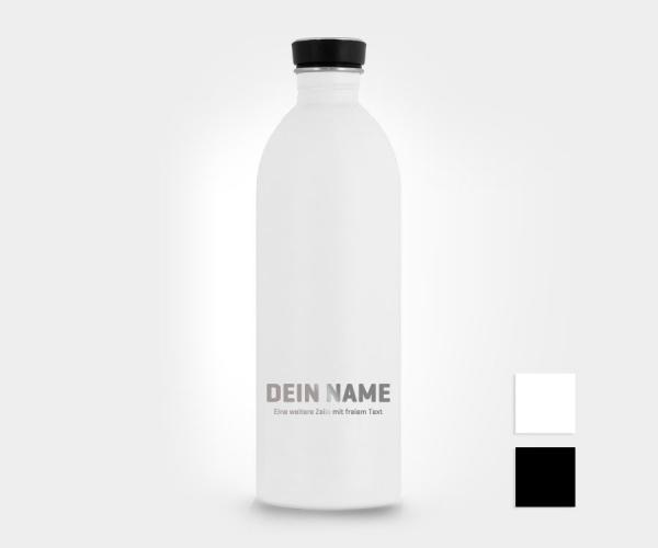 Personalisierte Edelstahl-Trinkflasche mit eigenem Namen / Text