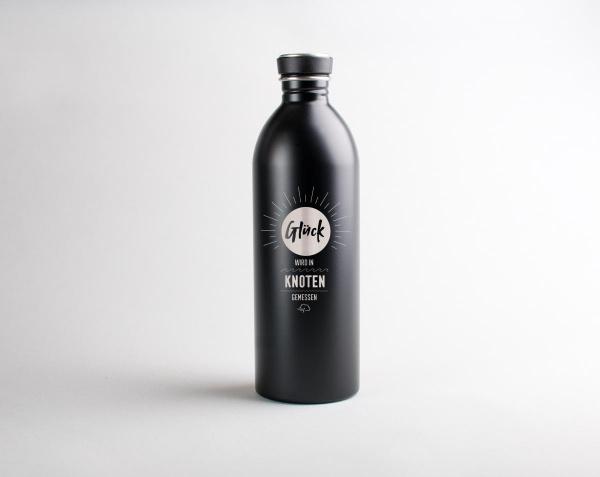 Edelstahl-Trinkflasche »Glück wird in Knoten gemessen« – personalisierbar