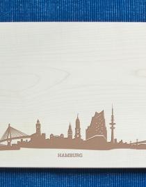 Schneidebrett Skyline Hamburg (+ Dein Name)