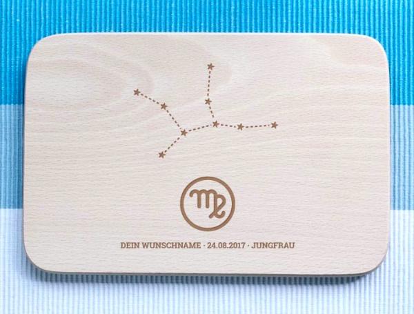 Personalisiertes Frühstücksbrettchen Jungfrau