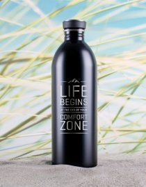 Edelstahl-Trinkflasche »Life Begins At The End Of Your Comfort Zone« – personalisierbar