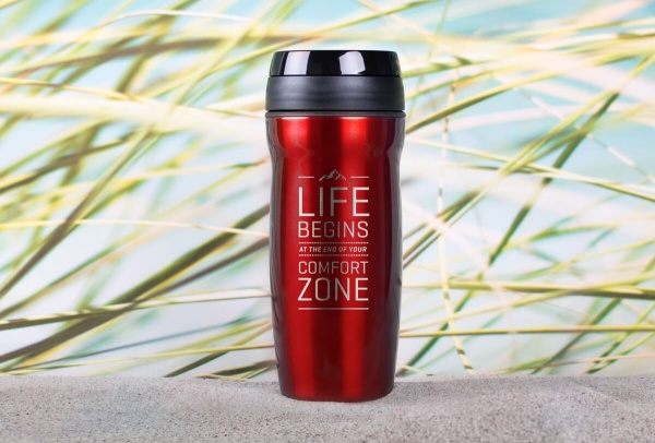 Edelstahl-Thermobecher »Life Begins At The End Of Your Comfort Zone« – personalisierbar