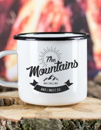 Emaille-Becher »The Mountains Are Calling And I Must Go« – personalisierbar