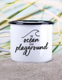 Emaille-Becher »The Ocean Is My Playground« – personalisierbar