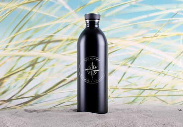 Personalisierte Edelstahl-Trinkflasche »Windrose« mit Koordinaten