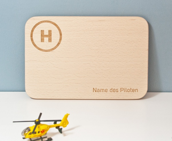 Frühstücksbrettchen HELI mit SIKU Hubschrauber