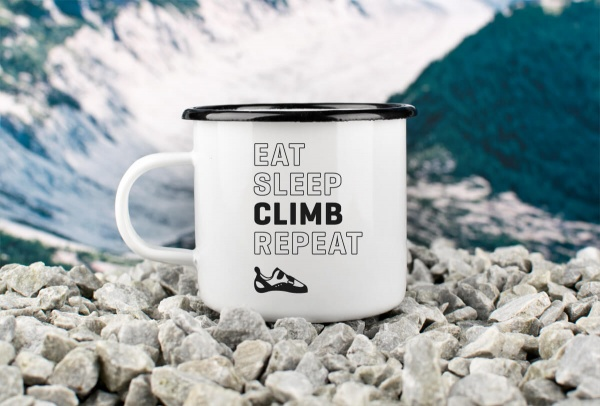 Emaille-Becher »Eat, Sleep, Climb, Repeat« – personalisierbar