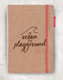 Echtleder-Notizbuch RED RUBBER »The Ocean Is My Playground« | A5 – personalisierbar