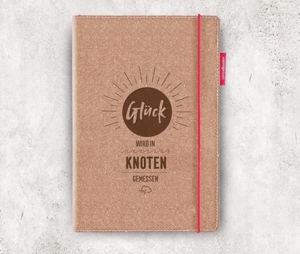 Echtleder-Notizbuch RED RUBBER »Glück wird in Knoten gemessen« | A5 – personalisierbar
