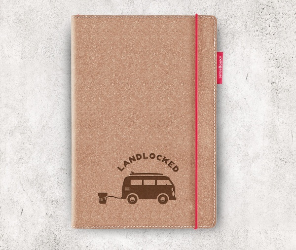 Echtleder-Notizbuch RED RUBBER »Landlocked« | A5 – personalisierbar