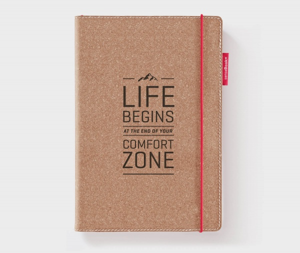 Echtleder-Notizbuch RED RUBBER »Life Begins At The End Of Your Comfort Zone« – personalisierbar