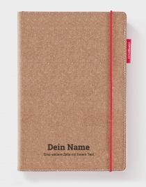 Personalisiertes Echtleder-Notizbuch RED RUBBER mit eigenem Namen / Text