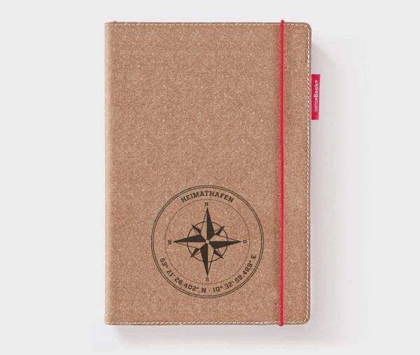 Personalisiertes Echtleder-Notizbuch RED RUBBER »Kompass« mit Koordinaten