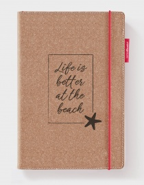 Echtleder-Notizbuch RED RUBBER »Life Is Better At The Beach« – personalisierbar