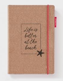 Echtleder-Notizbuch RED RUBBER »Life Is Better At The Beach« – personalisierbar