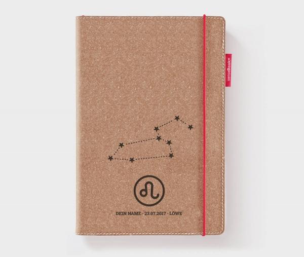 Personalisiertes Echtleder-Notizbuch RED RUBBER mit Sternzeichen und Namen