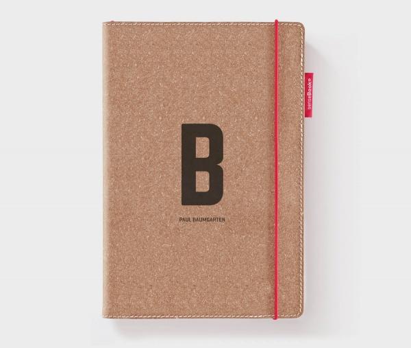 Personalisiertes Echtleder-Notizbuch RED RUBBER mit Design-Buchstabe und Namen