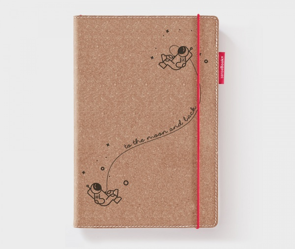 Personalisiertes Echtleder-Notizbuch RED RUBBER »To the Moon and Back« mit Initialen