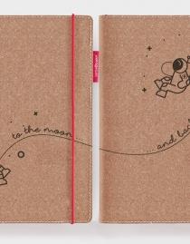 Personalisierte Partner-Echtleder-Notizbücher RED RUBBER »To the Moon and Back« mit Initialen | 2er-Set