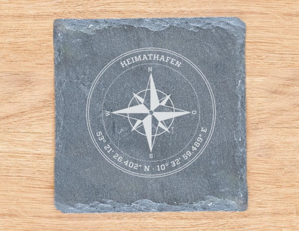 Personalisierter Untersetzer / Schieferplatte »Kompass« mit Koordinaten