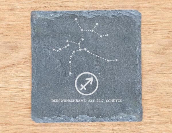 Personalisierter Untersetzer / Schieferplatte mit Sternzeichen und Namen