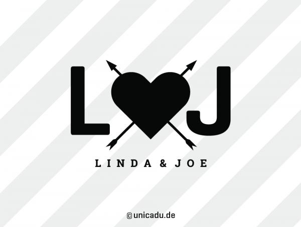 Personalisiertes Echtleder-Notizbuch RED RUBBER »In Love« mit Buchstaben | A5