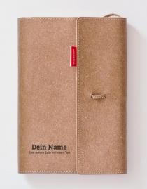 Personalisiertes Echtleder-Notizbuch FLAP mit eigenem Namen / Text