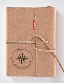 Personalisiertes Echtleder-Notizbuch FLAP »Kompass« mit Koordinaten