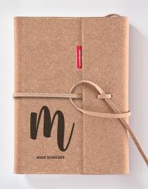 Personalisiertes Echtleder-Notizbuch FLAP mit Design-Buchstabe und Namen