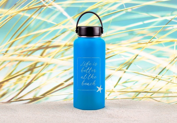 Edelstahl-Thermosflasche »Life Is Better At The Beach« – personalisierbar
