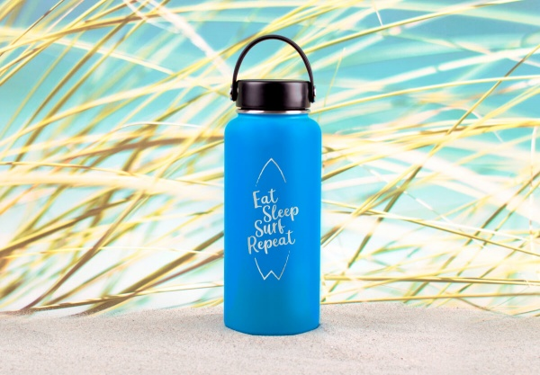 Edelstahl-Thermosflasche »Eat, Sleep, Surf, Repeat« – personalisierbar