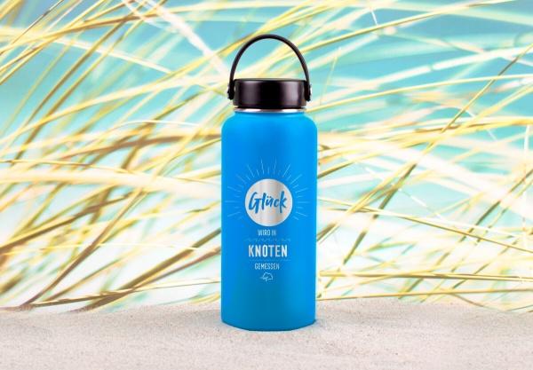 Edelstahl-Thermosflasche »Glück wird in Knoten gemessen« – personalisierbar