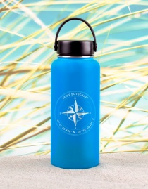 Personalisierte Edelstahl-Thermosflasche »Kompass« mit Koordinaten